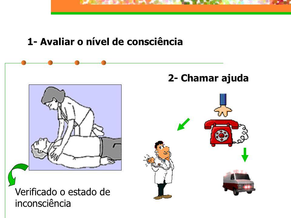 1- Avaliar o nível de consciência 2- Chamar ajuda Verificado o estado de inconsciência