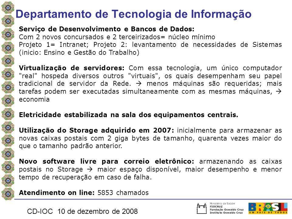 Departamento de Tecnologia de Informação CD-IOC 10 de dezembro de 2008 Serviço de Desenvolvimento e Bancos de Dados: Com 2 novos concursados e 2 terce