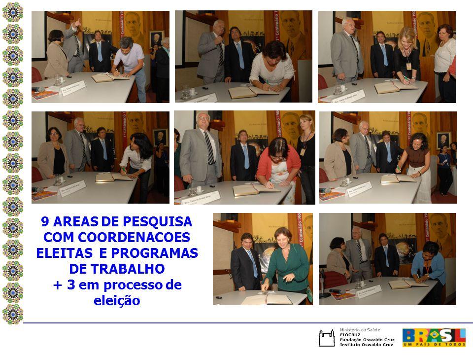 9 AREAS DE PESQUISA COM COORDENACOES ELEITAS E PROGRAMAS DE TRABALHO + 3 em processo de eleição