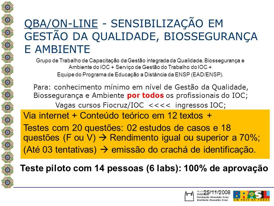 QBA/ON-LINE - SENSIBILIZAÇÃO EM GESTÃO DA QUALIDADE, BIOSSEGURANÇA E AMBIENTE Grupo de Trabalho de Capacitação da Gestão integrada da Qualidade, Biossegurança e Ambiente do IOC + Serviço de Gestão do Trabalho do IOC + Equipe do Programa de Educação a Distância da ENSP (EAD/ENSP).