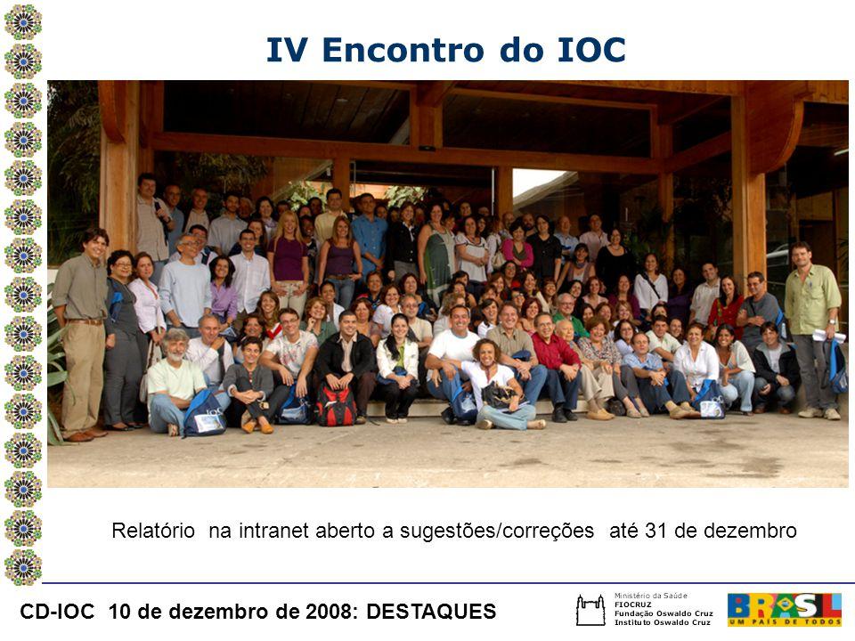 IV Encontro do IOC Relatório na intranet aberto a sugestões/correções até 31 de dezembro CD-IOC 10 de dezembro de 2008: DESTAQUES