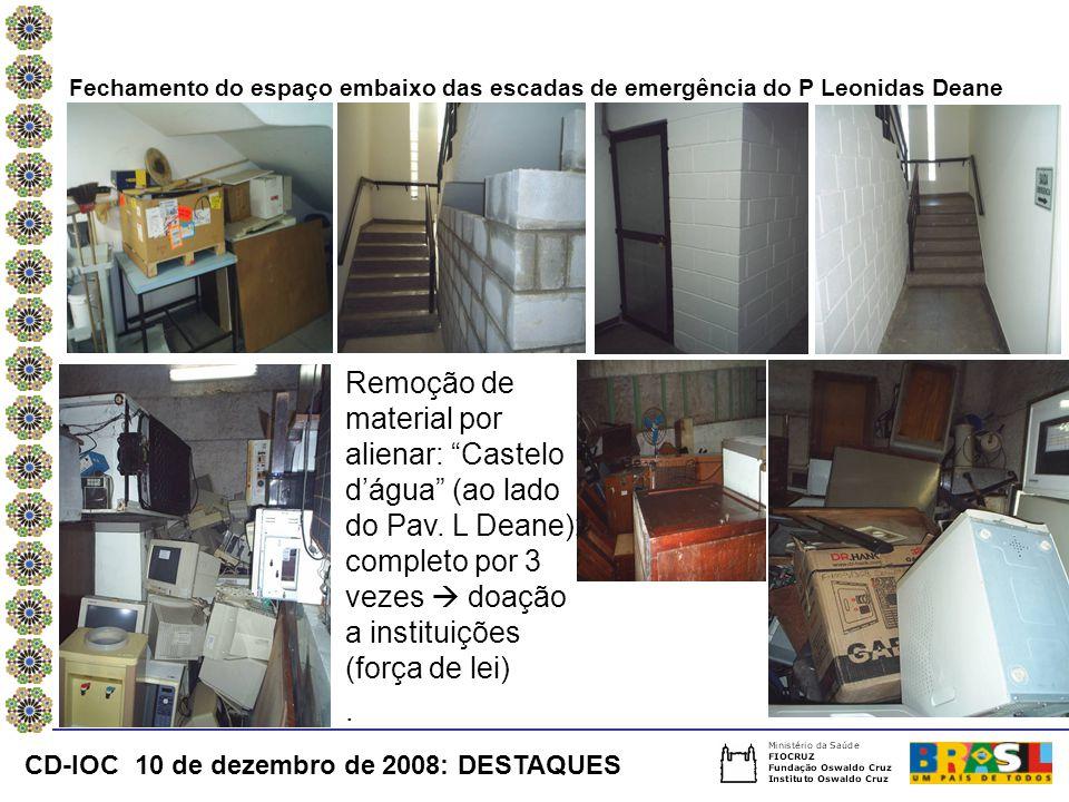 Fechamento do espaço embaixo das escadas de emergência do P Leonidas Deane Remoção de material por alienar: Castelo d'água (ao lado do Pav.