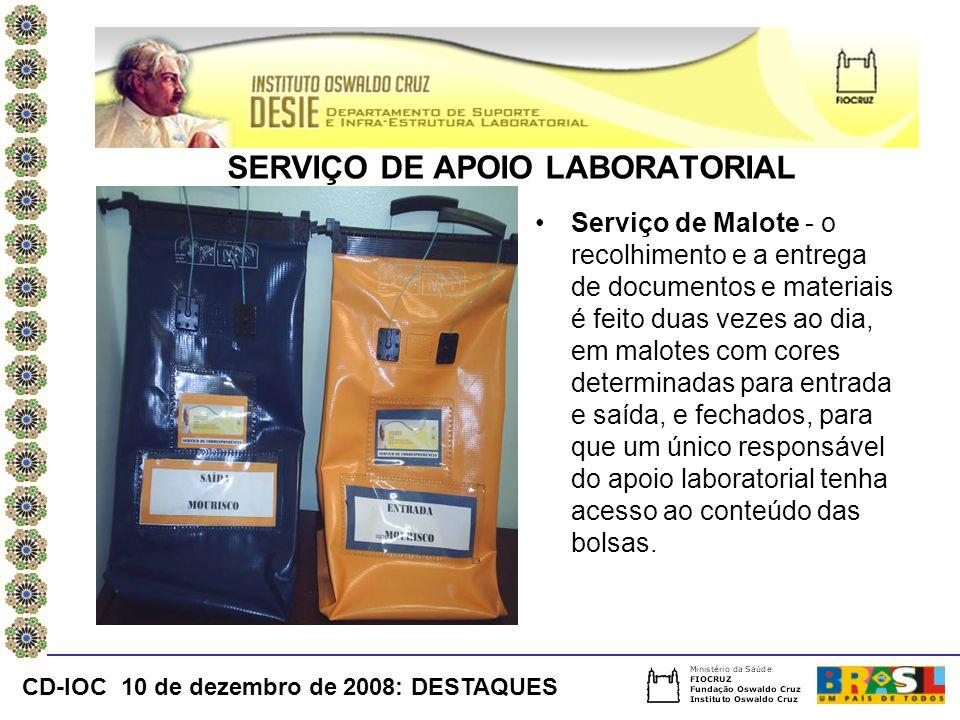 Serviço de Malote - o recolhimento e a entrega de documentos e materiais é feito duas vezes ao dia, em malotes com cores determinadas para entrada e s