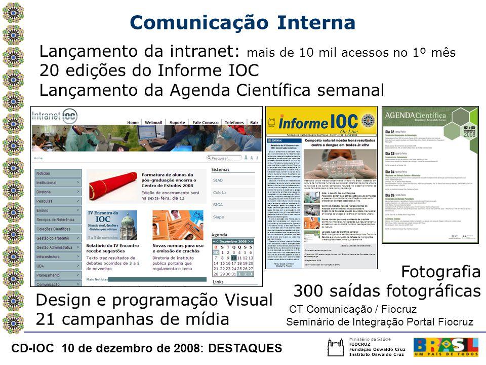Comunicação Interna Lançamento da intranet: mais de 10 mil acessos no 1º mês 20 edições do Informe IOC Lançamento da Agenda Científica semanal Design