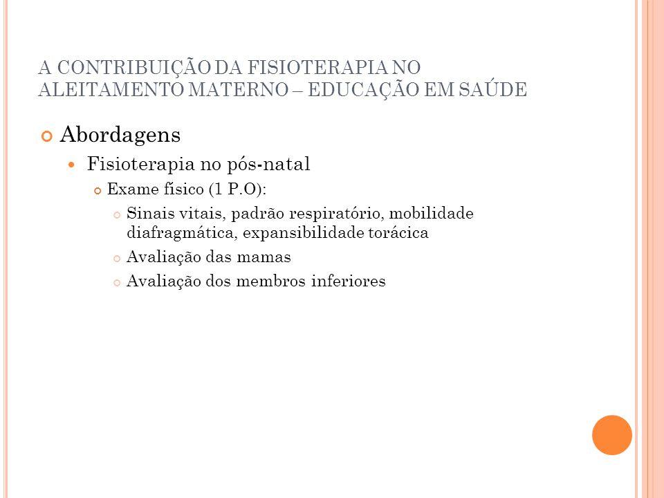 A CONTRIBUIÇÃO DA FISIOTERAPIA NO ALEITAMENTO MATERNO – EDUCAÇÃO EM SAÚDE Abordagens Fisioterapia no pós-natal Exame físico (1 P.O): Sinais vitais, pa