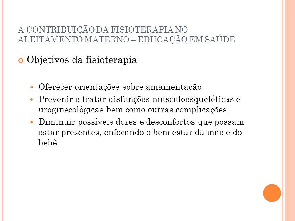 A CONTRIBUIÇÃO DA FISIOTERAPIA NO ALEITAMENTO MATERNO – EDUCAÇÃO EM SAÚDE Objetivos da fisioterapia Oferecer orientações sobre amamentação Prevenir e