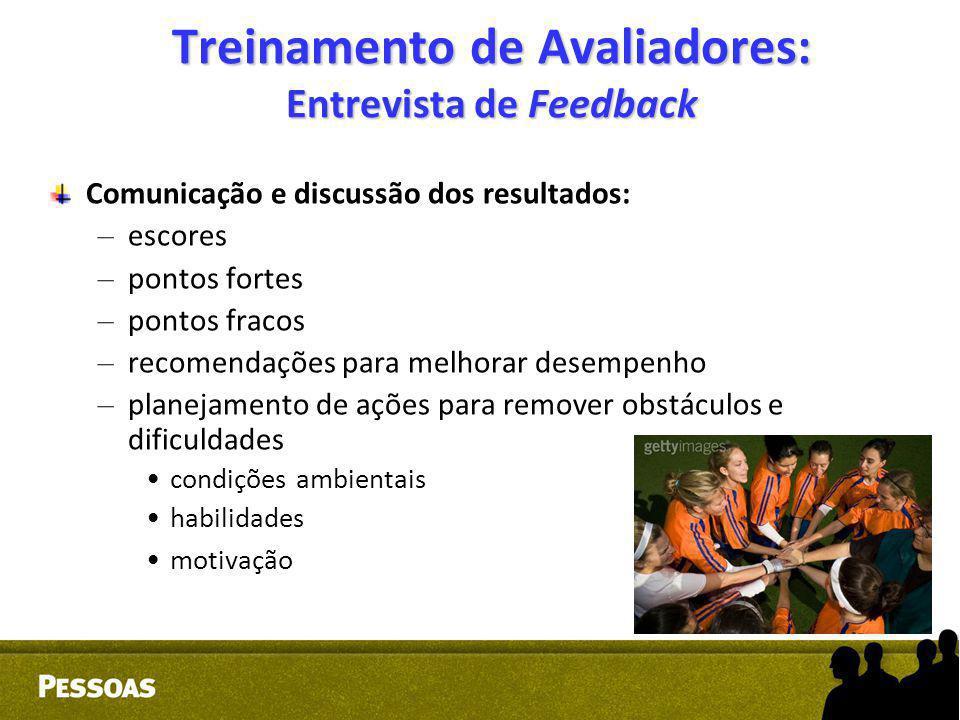 Treinamento de Avaliadores: Entrevista de Feedback Comunicação e discussão dos resultados: – escores – pontos fortes – pontos fracos – recomendações p
