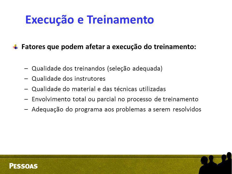 Fatores que podem afetar a execução do treinamento: –Qualidade dos treinandos (seleção adequada) –Qualidade dos instrutores –Qualidade do material e d