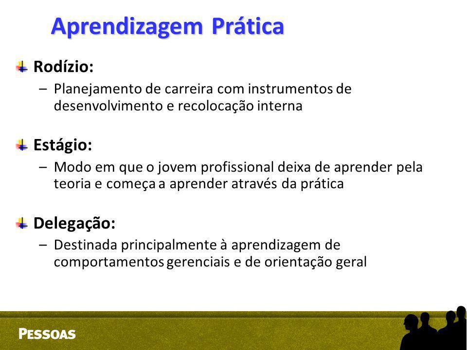 Rodízio: –Planejamento de carreira com instrumentos de desenvolvimento e recolocação interna Estágio: –Modo em que o jovem profissional deixa de apren