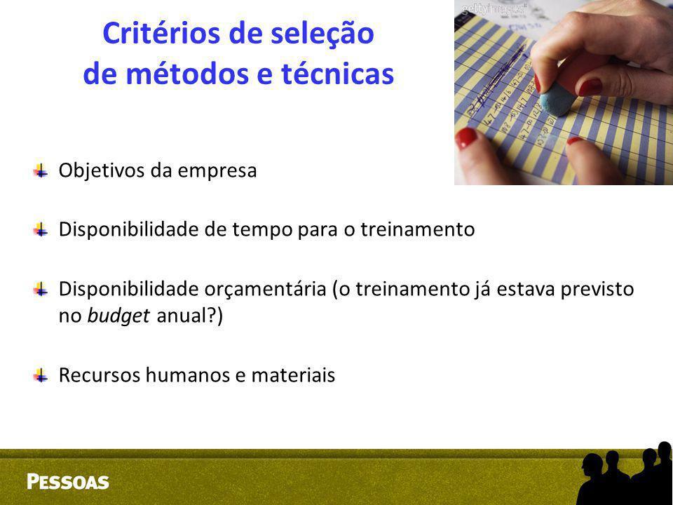 Critérios de seleção de métodos e técnicas Objetivos da empresa Disponibilidade de tempo para o treinamento Disponibilidade orçamentária (o treinament
