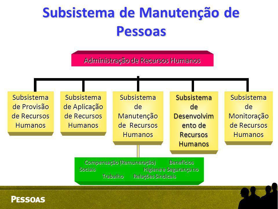 Subsistema de Manutenção de Pessoas Administração de Recursos Humanos Subsistema de Provisão de Recursos Humanos Subsistema de Aplicação de Recursos H