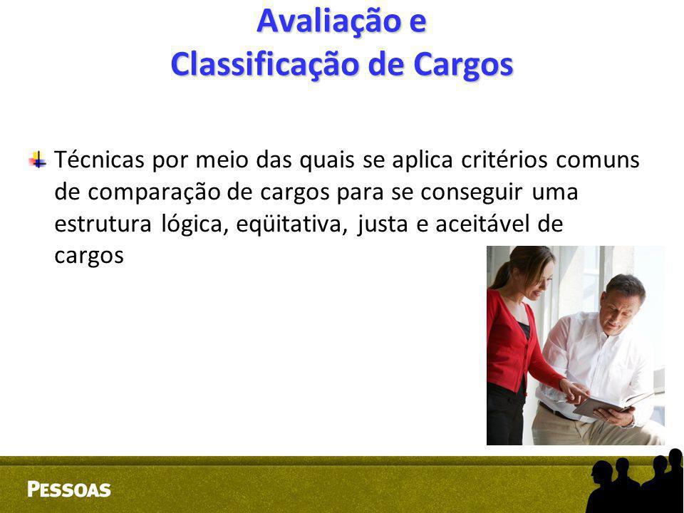 Avaliação e Classificação de Cargos Técnicas por meio das quais se aplica critérios comuns de comparação de cargos para se conseguir uma estrutura lóg