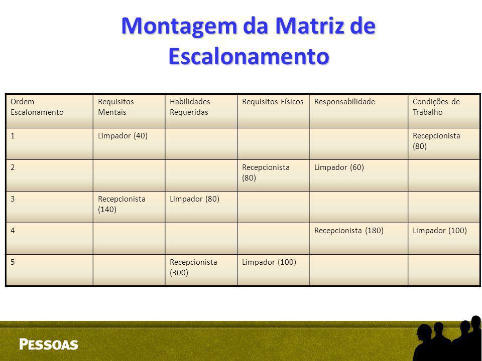 Montagem da Matriz de Escalonamento Ordem Escalonamento Requisitos Mentais Habilidades Requeridas Requisitos FísicosResponsabilidadeCondições de Traba