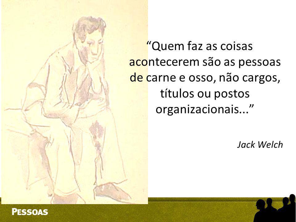 """""""Quem faz as coisas acontecerem são as pessoas de carne e osso, não cargos, títulos ou postos organizacionais..."""" Jack Welch"""