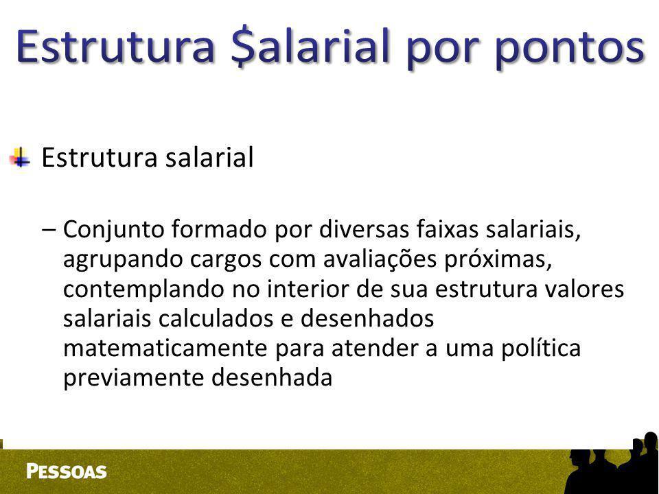 Estrutura salarial –Conjunto formado por diversas faixas salariais, agrupando cargos com avaliações próximas, contemplando no interior de sua estrutur