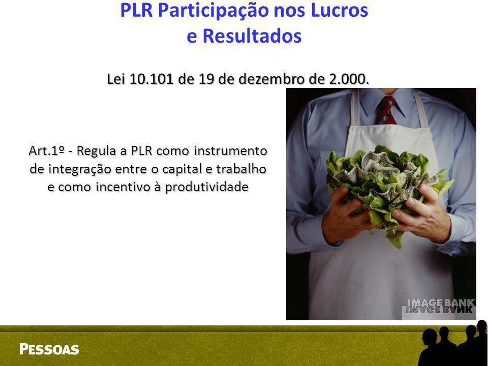 PLR Participação nos Lucros e Resultados Lei 10.101 de 19 de dezembro de 2.000. Art.1º - Regula a PLR como instrumento de integração entre o capital e