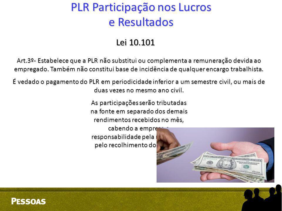 PLR Participação nos Lucros e Resultados Lei 10.101 Art.3º- Estabelece que a PLR não substitui ou complementa a remuneração devida ao empregado. També
