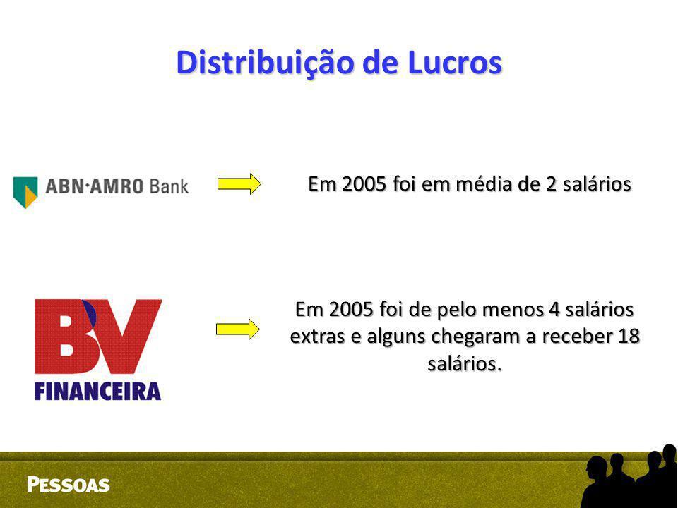 Distribuição de Lucros EX: Em 2005 foi em média de 2 salários Em 2005 foi de pelo menos 4 salários extras e alguns chegaram a receber 18 salários.