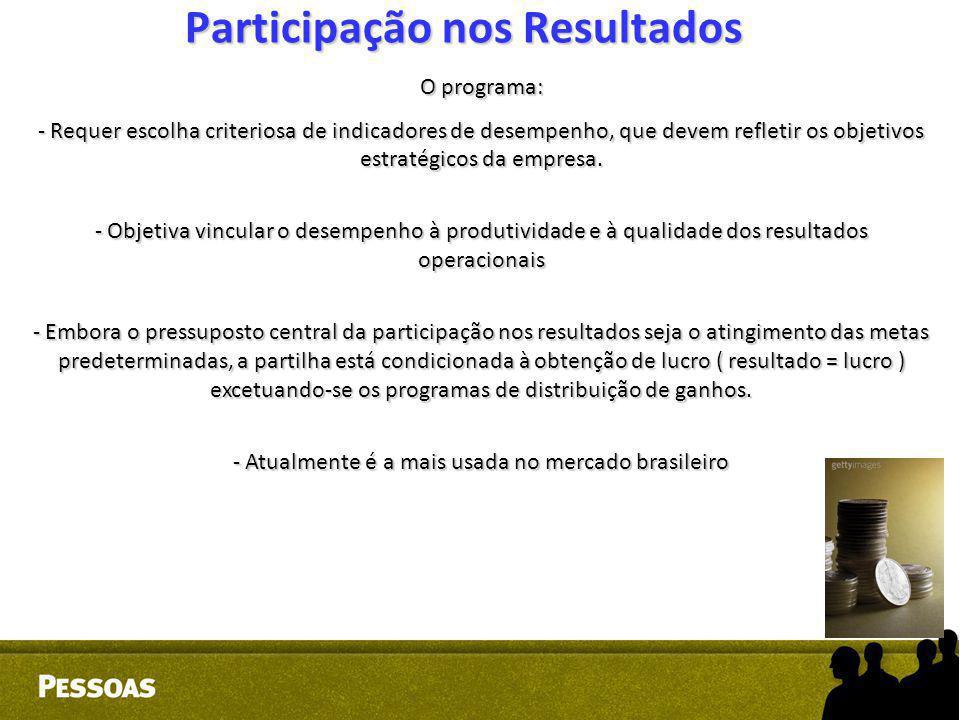 Participação nos Resultados O programa: - Requer escolha criteriosa de indicadores de desempenho, que devem refletir os objetivos estratégicos da empr