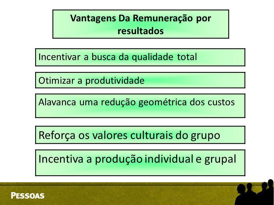 Incentivar a busca da qualidade total Otimizar a produtividade Vantagens Da Remuneração por resultados Reforça os valores culturais do grupo Alavanca