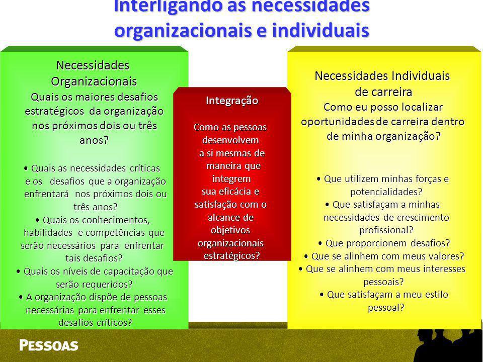 Interligando as necessidades organizacionais e individuais NecessidadesOrganizacionais Quais os maiores desafios estratégicos da organização nos próxi