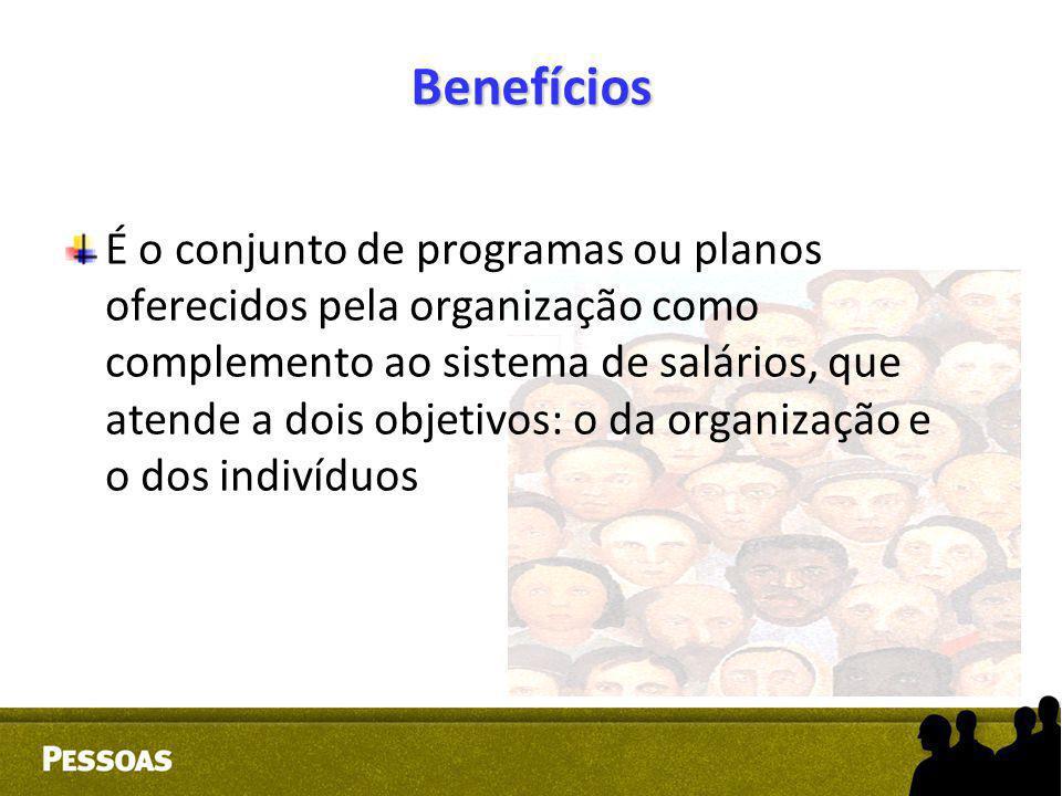 Benefícios É o conjunto de programas ou planos oferecidos pela organização como complemento ao sistema de salários, que atende a dois objetivos: o da