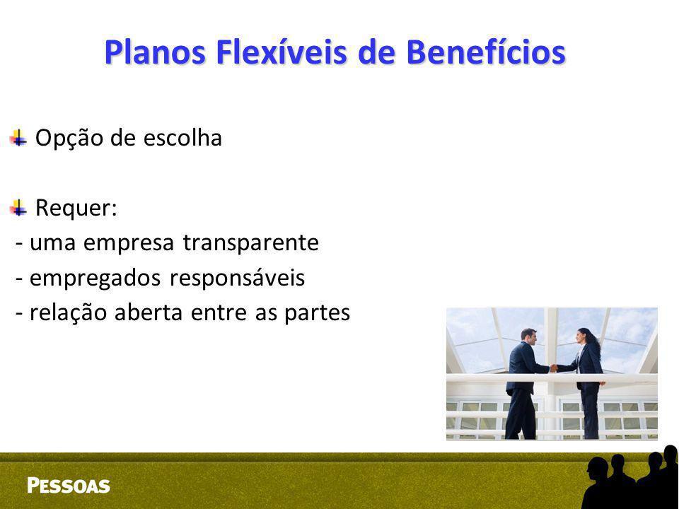 Planos Flexíveis de Benefícios Opção de escolha Requer: - uma empresa transparente - empregados responsáveis - relação aberta entre as partes