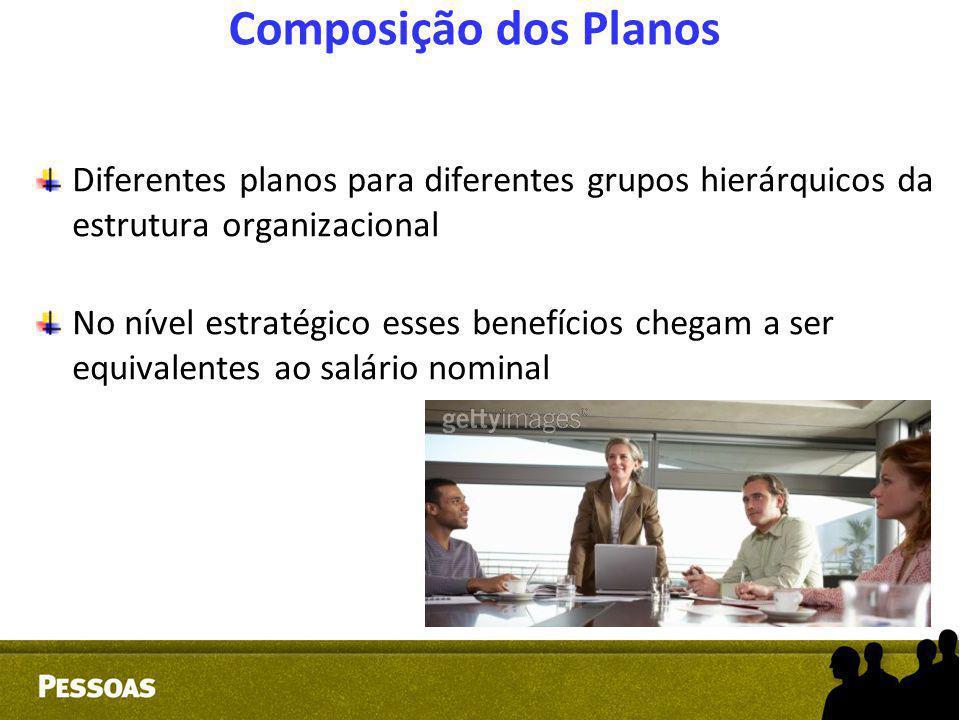 Composição dos Planos Diferentes planos para diferentes grupos hierárquicos da estrutura organizacional No nível estratégico esses benefícios chegam a