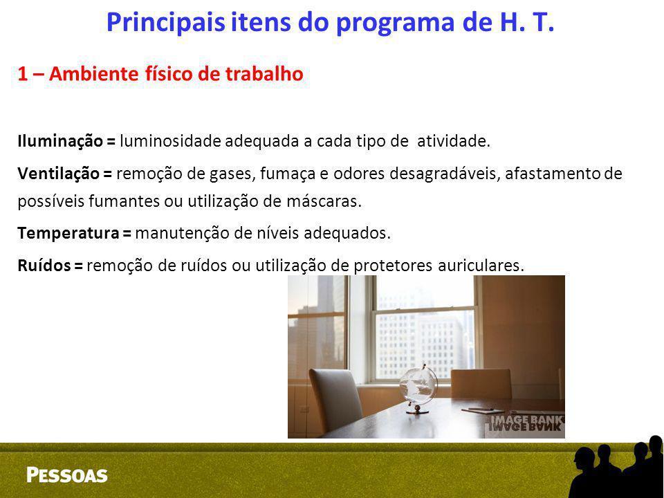 Principais itens do programa de H. T. 1 – Ambiente físico de trabalho Iluminação = luminosidade adequada a cada tipo de atividade. Ventilação = remoçã
