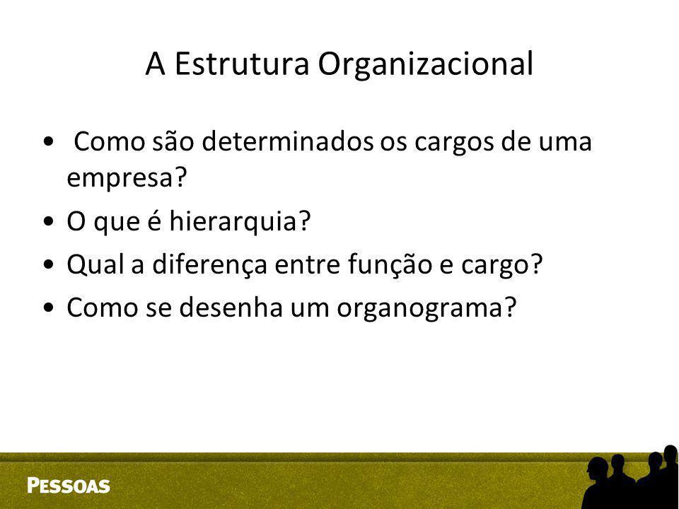 A Estrutura Organizacional Como são determinados os cargos de uma empresa? O que é hierarquia? Qual a diferença entre função e cargo? Como se desenha