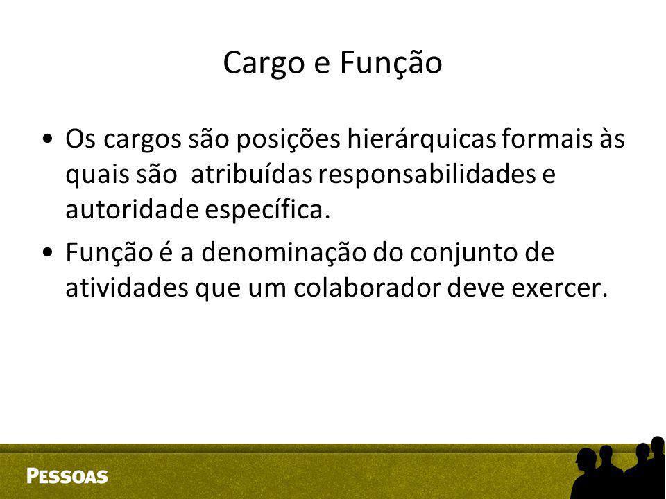 Cargo e Função Os cargos são posições hierárquicas formais às quais são atribuídas responsabilidades e autoridade específica. Função é a denominação d