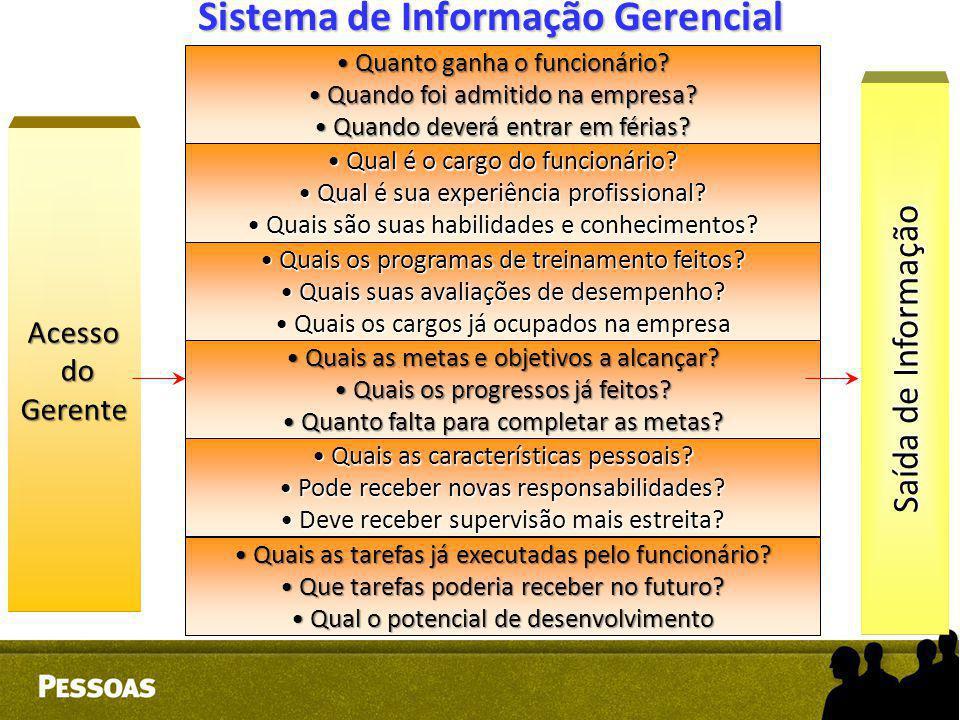 Sistema de Informação Gerencial Acesso do doGerente Qual é o cargo do funcionário? Qual é o cargo do funcionário? Qual é sua experiência profissional?