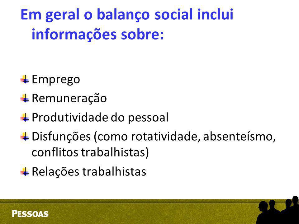 Em geral o balanço social inclui informações sobre: Emprego Remuneração Produtividade do pessoal Disfunções (como rotatividade, absenteísmo, conflitos