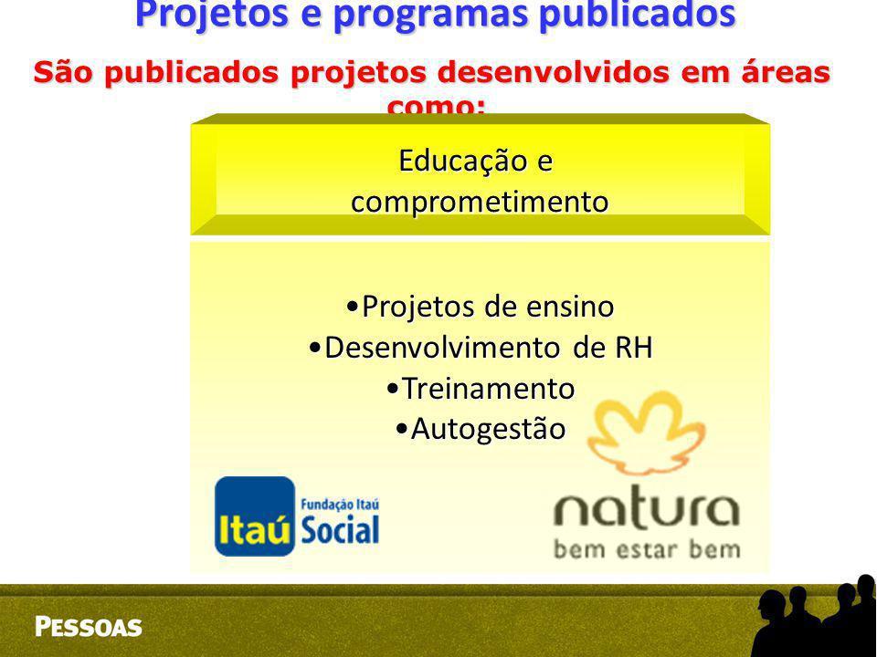Projetos e programas publicados São publicados projetos desenvolvidos em áreas como: como: Educação e comprometimento Projetos de ensinoProjetos de en