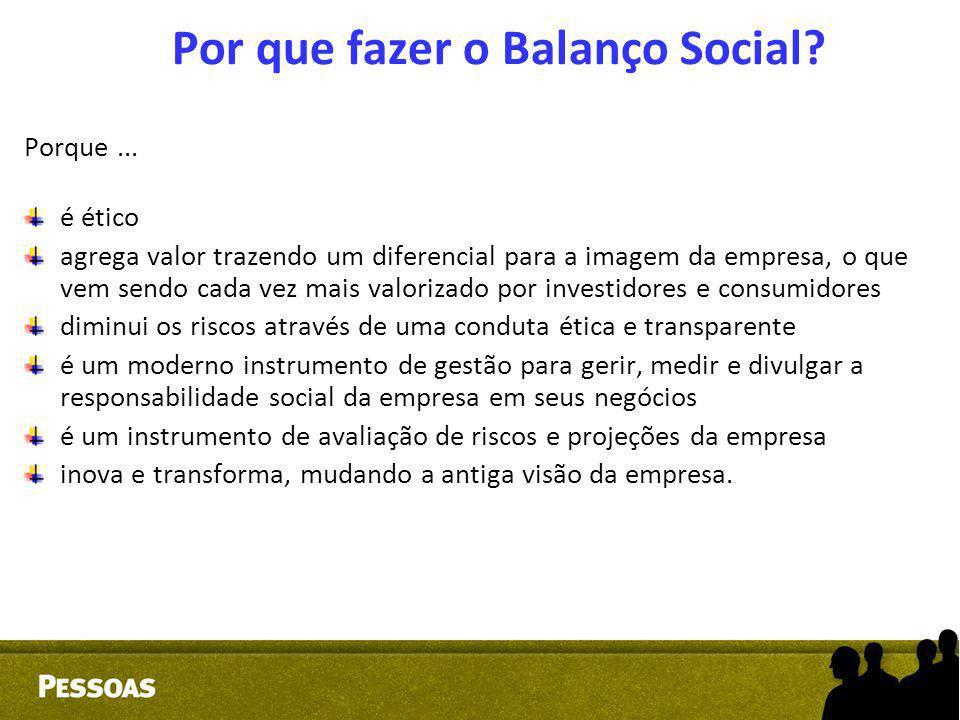 Por que fazer o Balanço Social? Porque... é ético agrega valor trazendo um diferencial para a imagem da empresa, o que vem sendo cada vez mais valoriz