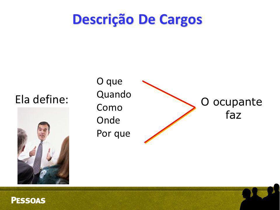 Descrição De Cargos Ela define: O que Quando Como Onde Por que O ocupante faz