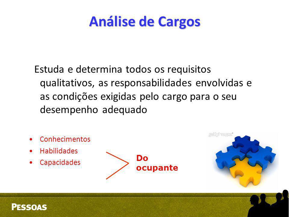 Análise de Cargos Estuda e determina todos os requisitos qualitativos, as responsabilidades envolvidas e as condições exigidas pelo cargo para o seu d