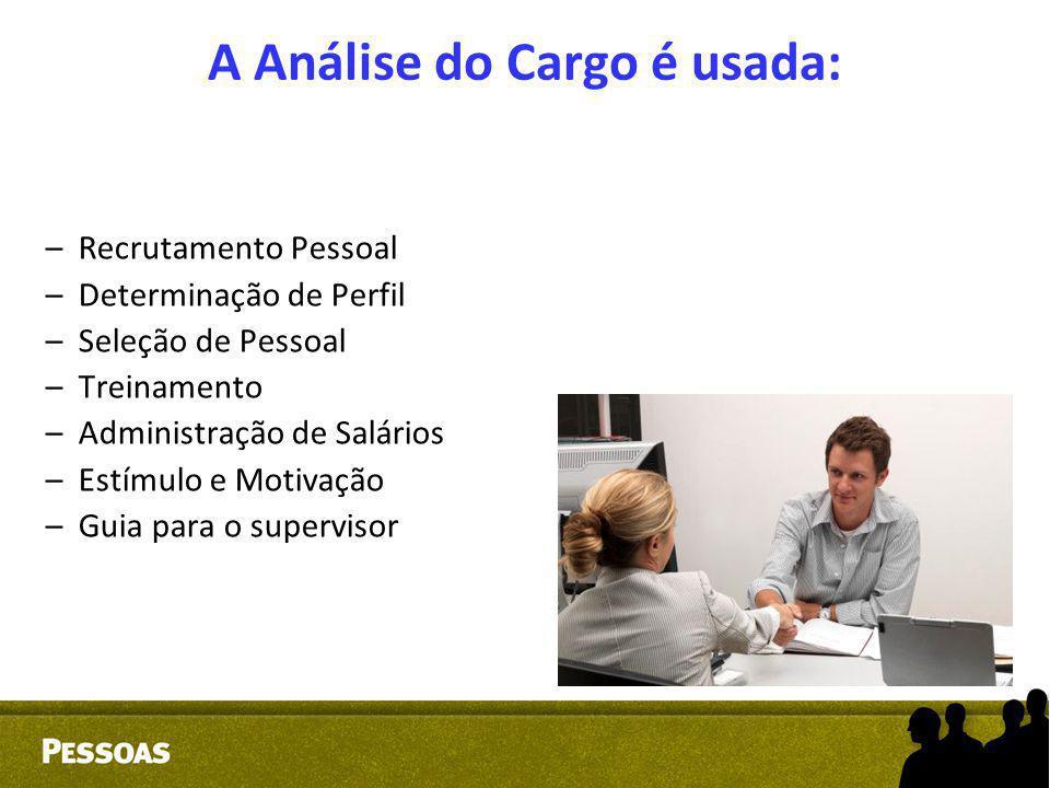 A Análise do Cargo é usada: –Recrutamento Pessoal –Determinação de Perfil –Seleção de Pessoal –Treinamento –Administração de Salários –Estímulo e Moti