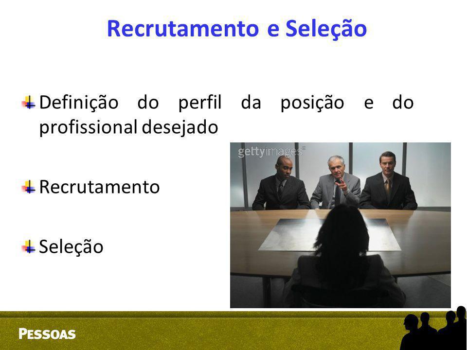 Recrutamento e Seleção Definição do perfil da posição e do profissional desejado Recrutamento Seleção