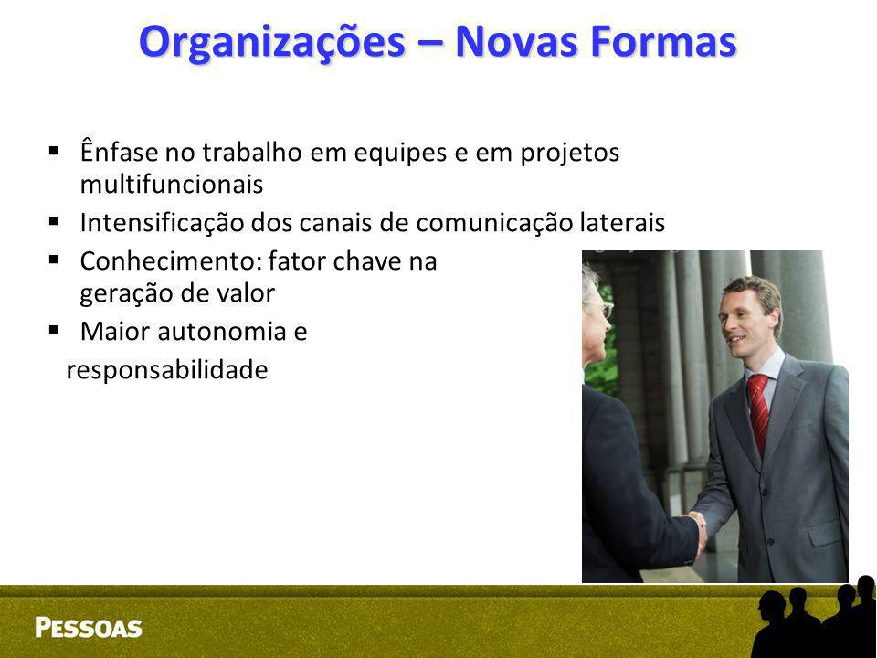 Organizações – Novas Formas  Ênfase no trabalho em equipes e em projetos multifuncionais  Intensificação dos canais de comunicação laterais  Conhec