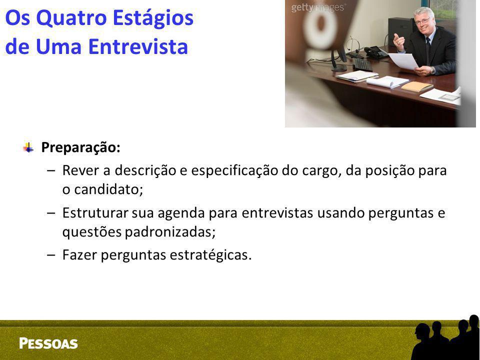 Os Quatro Estágios de Uma Entrevista Preparação: –Rever a descrição e especificação do cargo, da posição para o candidato; –Estruturar sua agenda para