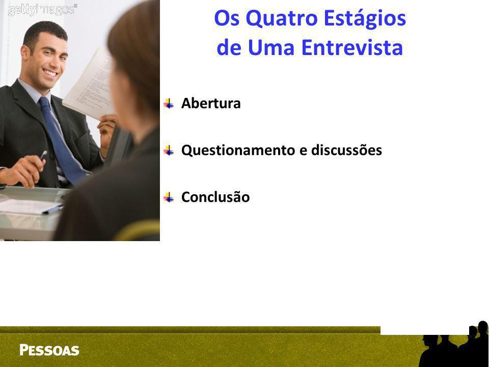Os Quatro Estágios de Uma Entrevista Abertura Questionamento e discussões Conclusão