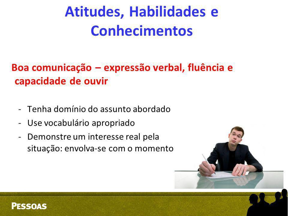 Atitudes, Habilidades e Conhecimentos Boa comunicação – expressão verbal, fluência e capacidade de ouvir -Tenha domínio do assunto abordado -Use vocab