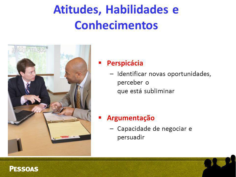 Atitudes, Habilidades e Conhecimentos  Perspicácia –Identificar novas oportunidades, perceber o que está subliminar  Argumentação –Capacidade de neg