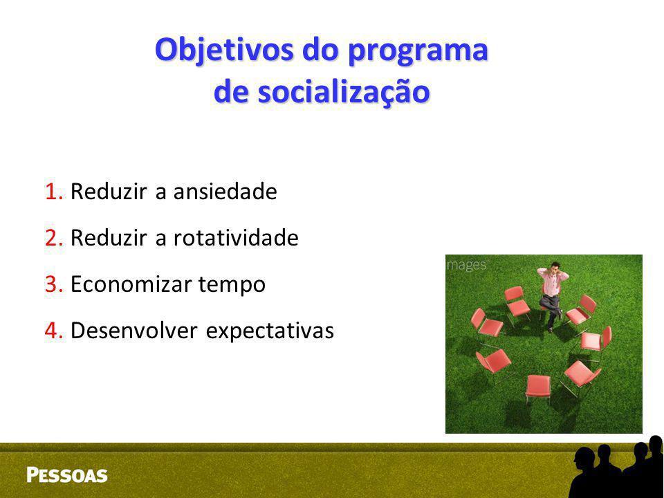 Objetivos do programa de socialização 1. Reduzir a ansiedade 2. Reduzir a rotatividade 3. Economizar tempo 4. Desenvolver expectativas