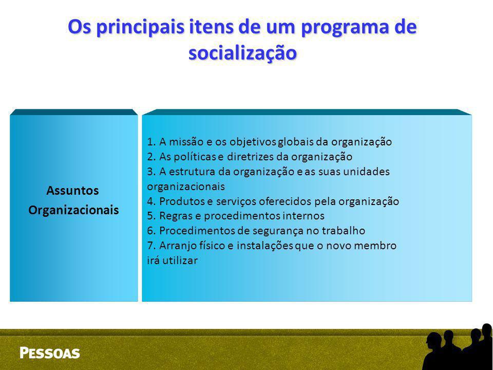 Os principais itens de um programa de socialização 1. A missão e os objetivos globais da organização 2. As políticas e diretrizes da organização 3. A