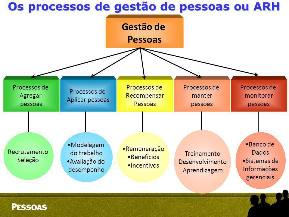 Gestão de Pessoas Processos de Agregar pessoas Processos de Aplicar pessoas Processos de Recompensar Pessoas Processos de manter pessoas Processos de