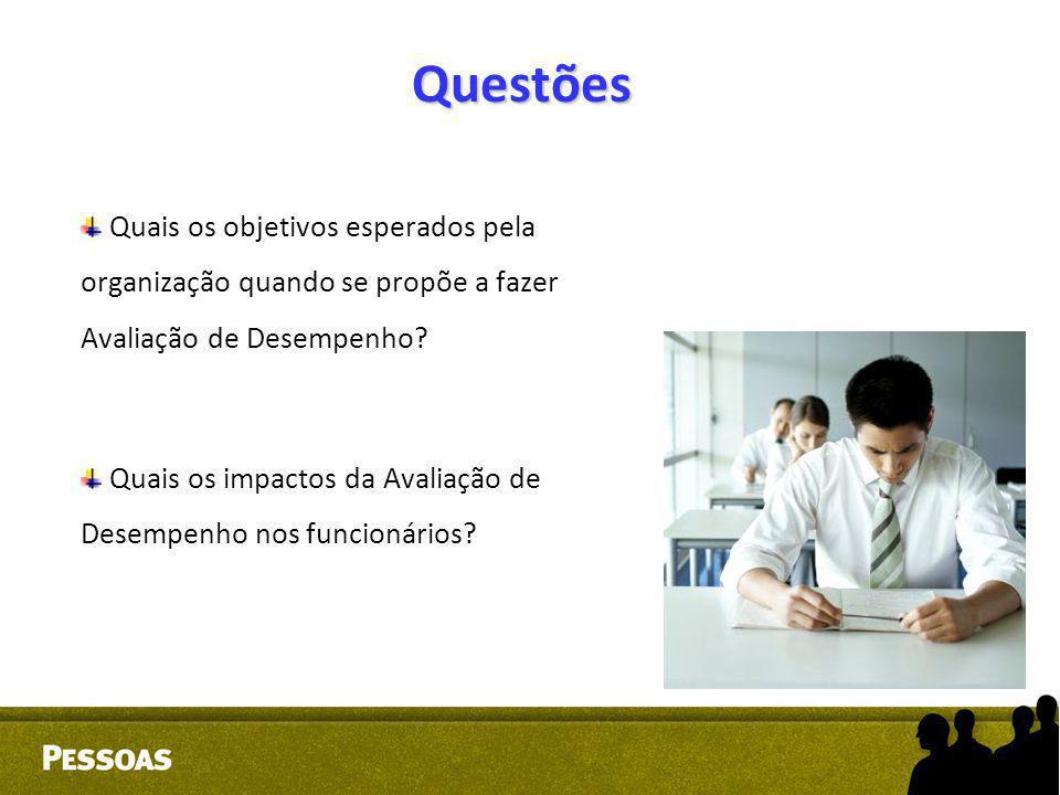 Questões Quais os objetivos esperados pela organização quando se propõe a fazer Avaliação de Desempenho? Quais os impactos da Avaliação de Desempenho