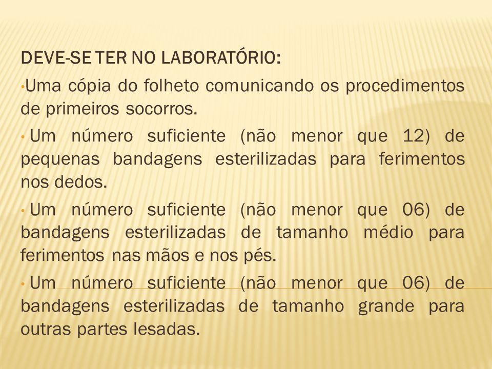 DEVE-SE TER NO LABORATÓRIO: Uma cópia do folheto comunicando os procedimentos de primeiros socorros.