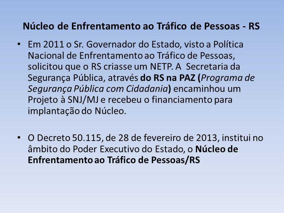 Núcleo de Enfrentamento ao Tráfico de Pessoas - RS Em 2011 o Sr. Governador do Estado, visto a Política Nacional de Enfrentamento ao Tráfico de Pessoa